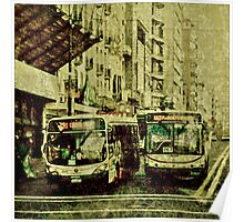 Montevideo Main Avenue Grunge Style Photo Poster