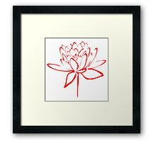 Lotus Flower Calligraphy (Red) Framed Print