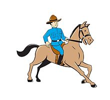 Mounted Police Officer Riding Horse Cartoon by patrimonio