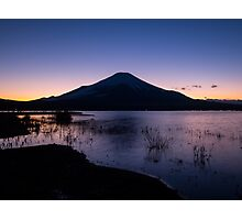 Fujisan stands on evening lake Photographic Print