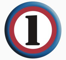 Roundel, TEAM SPORTS, NUMBER 1, FIRST, ONE, 1, Numero Uno, Competition, White on Black by TOM HILL - Designer