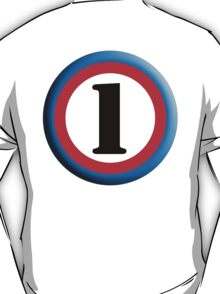 Roundel, TEAM SPORTS, NUMBER 1, FIRST, ONE, 1, Numero Uno, Competition, White on Black T-Shirt