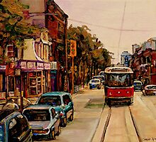 PAINTINGS OF TORONTO TORONTO ART TORONTO CITY SCENE PAINTINGS TORONTO TRAMS AND RESTAURANT PAINTINGS by Carole  Spandau