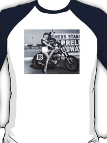 Triumph Bike with Model T-Shirt