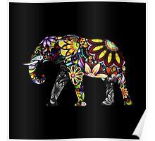 Aztec Elephant Black Poster