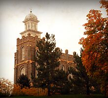 Logan LDS Temple - Autumn Leaves by Ryan Houston