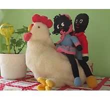 Gollies riding a Chicken Photographic Print