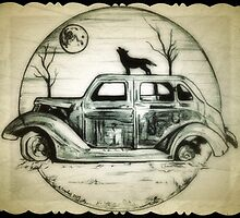 Car, wolf drawing by RobCrandall