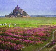 mont st. michel flowers and grazing sheep by R Christopher  Vest