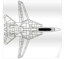 F-14 Tomcat Top View Poster