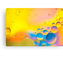 Abstract - Oil and Water on a Coloured background Canvas Print
