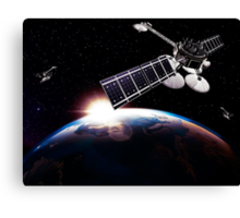 Communication satellites in space above Earth with rising sun art photo print Canvas Print
