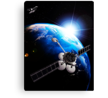 Communication satellites Space internet concept art photo print Canvas Print