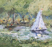Sail Boat on Thames at Ham Common. by Raymond  Hedley