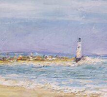 Sandbank with lighthouse. by Raymond  Hedley