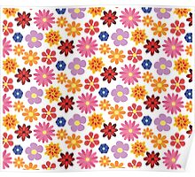 cute flowers colorful pattern Poster