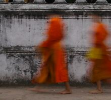 Buddhist monks, Laos, 2008 by Marie-Louise Fox