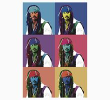 Captain Jack Sparrow Andy Warhol style Poster, Pop Art 6 Color Digital Poster Portrait. Pirates of the Caribbean. Kids Clothes