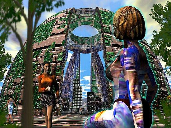 Alien Hive City - 3D art by Dave Martsolf