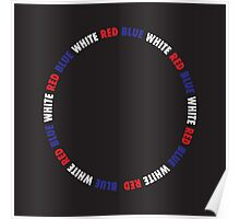 Blue, White, Red Circle Poster