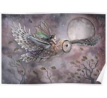 Soaring Fairy and Owl in Flight Illustration Fantasy Art by Molly Harrison Poster