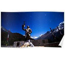 Tenzing Norgay Statue with Everest in Background Poster