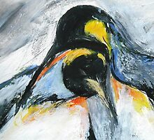 Penguins acrylics on paper  by JamesPeart