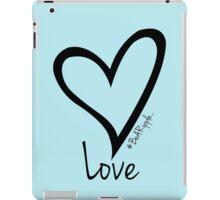 LOVE....#BeARipple Black Heart on Blue iPad Case/Skin