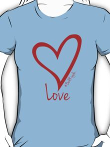 LOVE....#BeARipple Red Heart on Blue T-Shirt