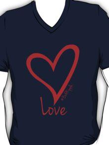 LOVE....#BeARipple Red Heart on Pink T-Shirt