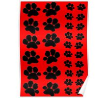 Paw Prints on Red Poster