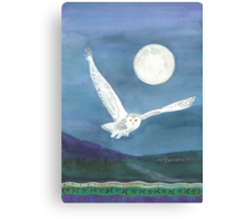 Owl, wearing a shawl of moonlight Canvas Print