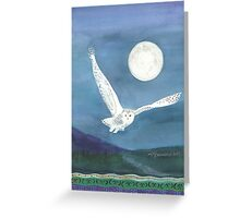 Owl, wearing a shawl of moonlight Greeting Card