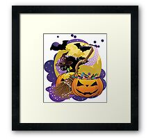 Halloween card with pumpkins and cat 2 Framed Print