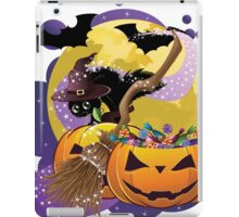 Halloween card with pumpkins and cat 2 iPad Case/Skin