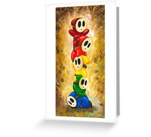 Rainbow of Shy Guys! Super Mario Bros Fan Art Greeting Card