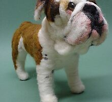 Needle Felted Wool Portrait of Boz the English Bulldog by Amelia  Santiago