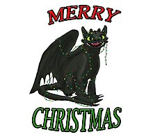 Toothless - Merry Christmas Photographic Print