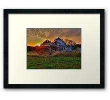 The Sun Has Set on This Old Barn Framed Print