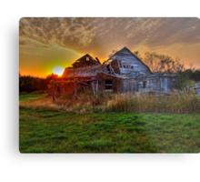 The Sun Has Set on This Old Barn Metal Print