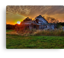 The Sun Has Set on This Old Barn Canvas Print