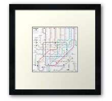 Shanghai metro map  Framed Print