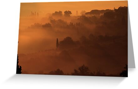San Giminiano in the Morning Mists by Eva & Klaus WW