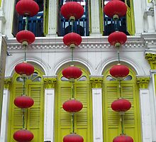 Red Lanterns Green Windows by Helzway