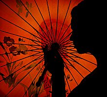 Silhouette with Umbrella by Helzway