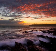 Glowing Embers, Titahi Bay - Wide by Ken Wright