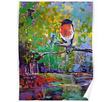 Red Crested Robin in Paradise  Poster