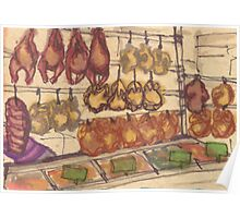 hanging meat Poster