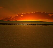 Hervey Bay jetty sunrise by robert murray