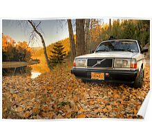 Leafy Volvo 240 Poster